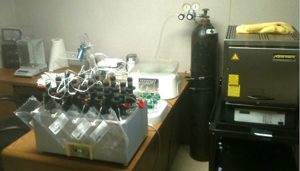An image of Biodico's complex biomethane potential testing system for stage 1 of Biogas Production.
